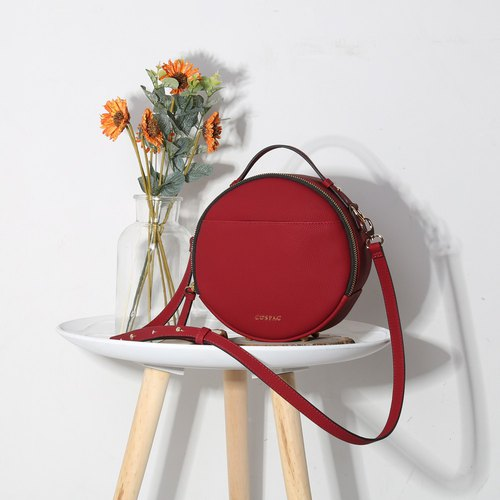 Unique Round Red Synthetic Leather Portable Crossbody Bag