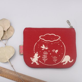Peaceful little music wallet - I love goldfish (cat ancient cloth series), Japanese hand cloth