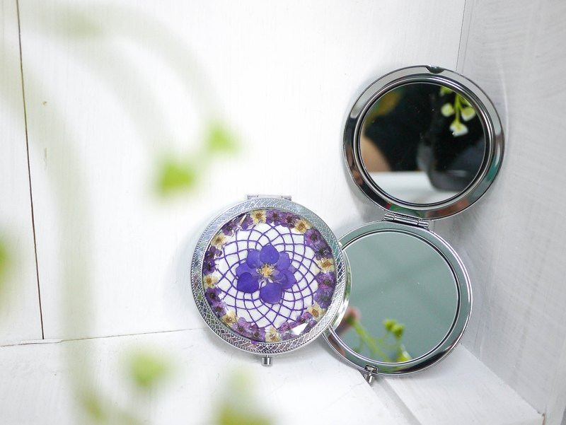 Pressed Flower Dreamcatcher Compact Mirror | Purple, White & Silver