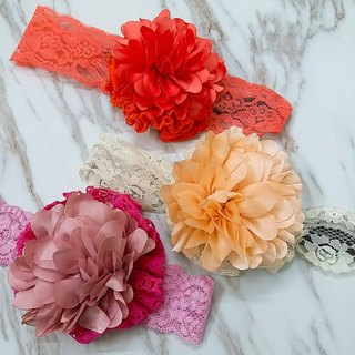 Baby Baby Exclusive series - handmade satin flower hair band tricolor [orange-red flower / flower meat / pink flower]