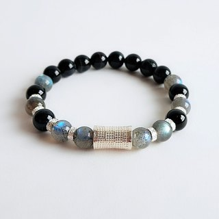 Natural Ore Black Tiger Eye Labradorite 925 Sterling Silver Engraved Bracelet