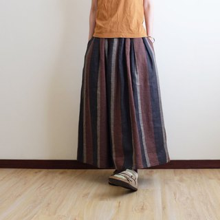 Daily hand-made suit natural forest striped pleated long skirt linen cotton