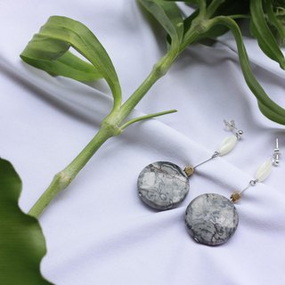 Round Map Stone Pin Earrings - Sterling Silver Ear Studs