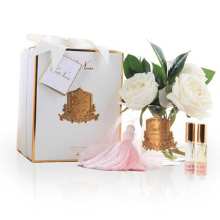 CoteNoire Fragrance Flower - Ivory White Camellia Rose Fragrance Flower