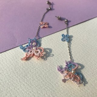 tatted lace butterfly earrings (ice cream color) / gift / Clip-ons