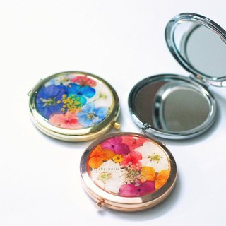 Pressed flower with double-sided mirror box