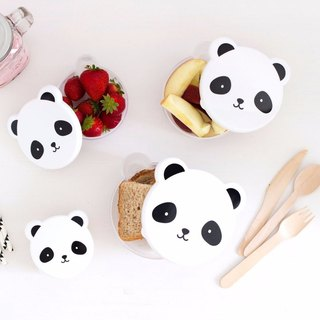 A Little Lovely Company - Healing Black Panda Picnic Box / Snack Box (4 in)