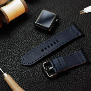 Applewatch leather hand-sewn strap - Zhan blue [Fu Lie area carved leather] [planted leather]