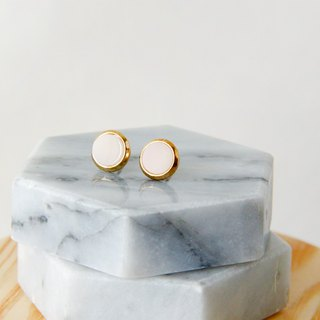 Inlaid gold-trimmed stone circle - Moonlight white earrings earrings (pair) [can be changed ear clip]