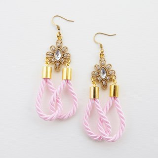 Pale pink rope earrings victorian style