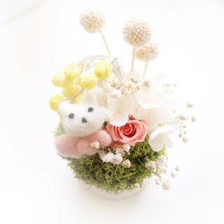 Lazy love sleeping cat small round table flowers, immortal rose gift
