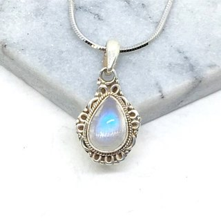 Moonlight stone 925 sterling silver gorgeous style trim necklace Nepal handmade mosaic production (style 2)