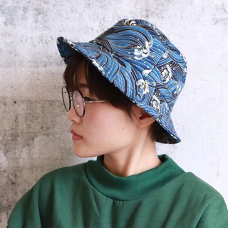 Blue wave print fisherman hat