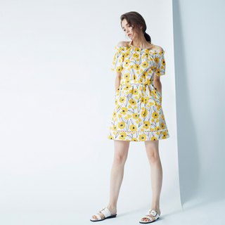 AEVEA Vacation Hand-painted Yellow Flower Dress