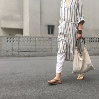 SAMEDi - Casual Tie Tote - Beige + Coffee Handle