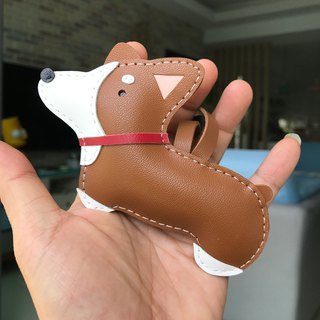 Handmade Leather Taiwan MIT Brown Corgi Dog Handmade Leather Charm Large Size