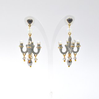 French enamel charcoal gray signature style mini chandelier earrings seven colors rainbow multicolor selection