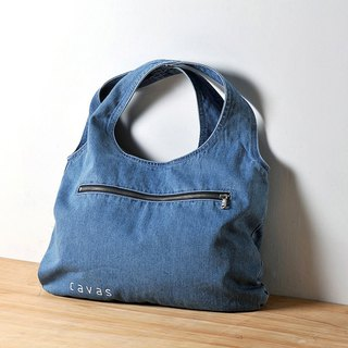Washed Denim Tote _ Light Blue