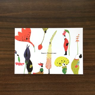 Small Potatoes postcard / million flower people / flower