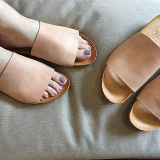 Leather bottom sandals||Moroccan's afternoon sun linen nude skin|| #8128