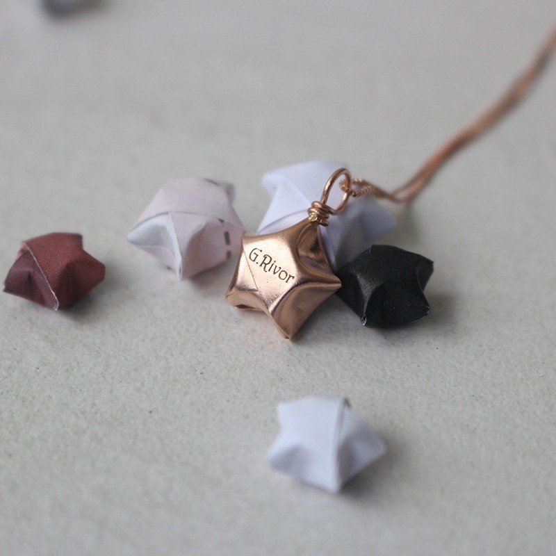 Sterling Silver Rose Gold Lucky Star Necklace / Discount Lucky Star Necklace (can be engraved)