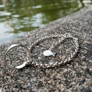 V36 - can not do the same silver bracelet - sterling silver circle + small fish - 925 sterling silver bracelet - royal smith