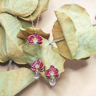 珐琅 series orchid orchid amethyst drop (detachable two wear) earrings pre-order