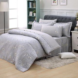Double size Jane love flower open (gray) - Tencel dual-use bedding set of six [100% lyocell]