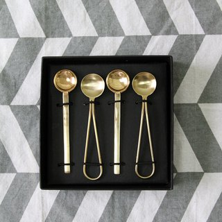 British Selbrae House copper and stainless steel metal spoon gift box group (set of four) - spot
