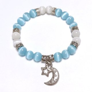 Quiet night sky custom bracelet opal white cat eyes blue cat eye ore attracts good luck