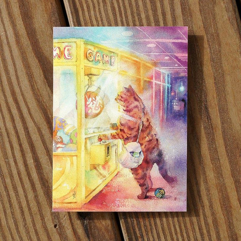 水彩繪毛孩系列明信片 - 貓夾客