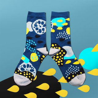 Pond Navy Unisex Crew Socks | mens socks | womens socks | colorful fun socks