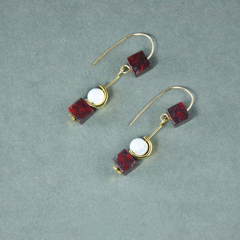 ART COLE 前衛大理石14KGF耳環 獨家設計 雲石 白色酒紅色