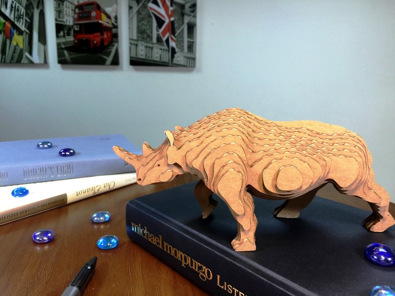 Contamo手作模型DIY材料包    野生動物系列-犀牛-大