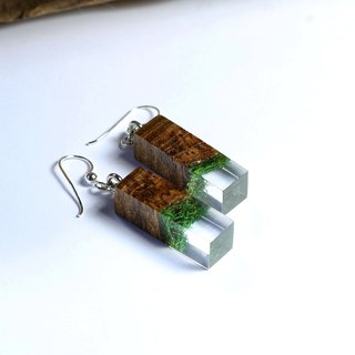 Under the sea - Earrings (from real moss & wooden)