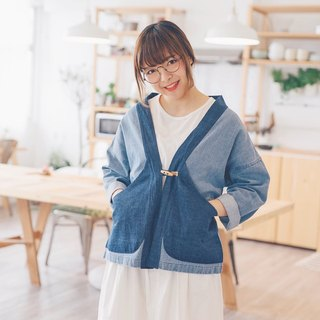 Fight denim series / denim patchwork kimono coat