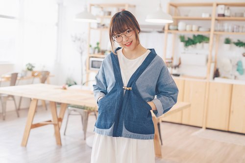 Fight denim series / denim color / denim pants kimono jacket