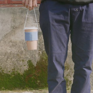 <Cotton> Carrying handle bag. Lake Blue