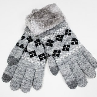 [Winter ceremony] touch knit gloves gray cross black and white limited edition