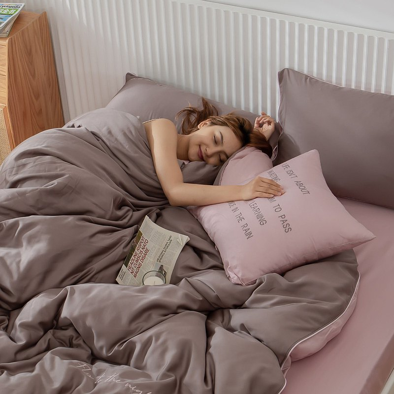 雙色勇敢系列-100%萊賽爾-枕頭套床包組-咖粉-全尺寸