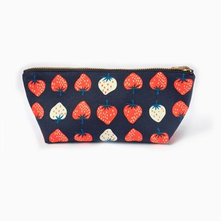 筆袋/化妝袋 Cute Strawberry Zipper Pouch, Red, White, Navy Blue