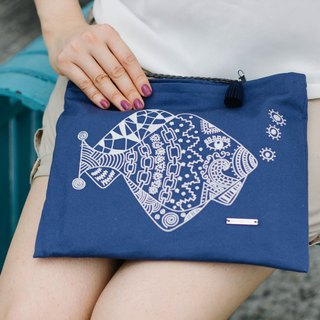 Cotton Canvas Embroidery Across-Body Bag - Fish with Tattoo