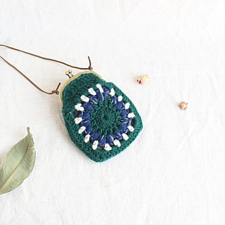 Wool coin purse mouth gold bag double chain green