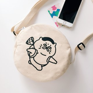 Goro outing - serigraph cross-circle round canvas bag