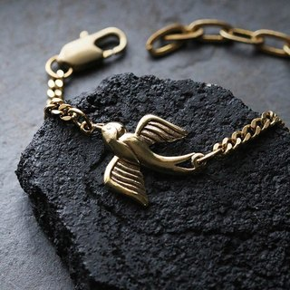Swallow Charm Bracelet with claw claps - Original design and made by Defy.