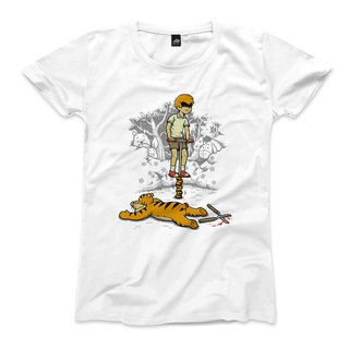 Jumping Tiger - White - Female T-shirt