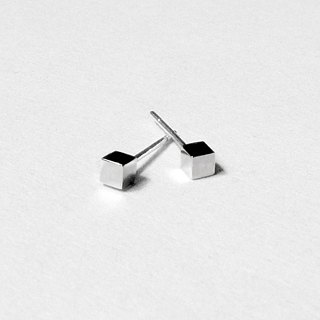 Crazy Geometry | 3mm Glossy (Small) Cube Square Squares Sterling Silver Earrings (Single Side)