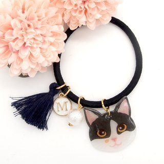 Meow handmade cat and cotton pearl hairband - black and white cat