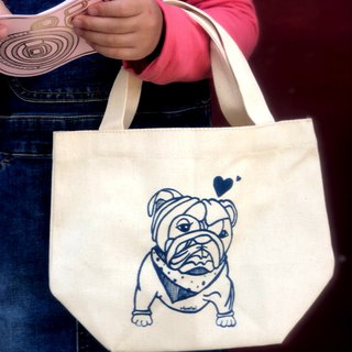 Bull Terrier Canvas Bag - Navy Blue