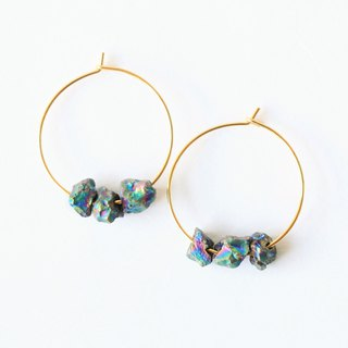 Titanium quartz hoop earrings - 18k gold plated earrings